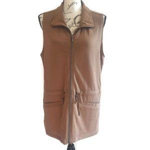 Three Hearts Tan Vest with Cinch Pull Waist